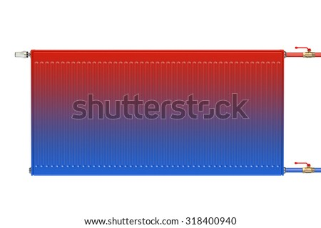 Distribution of heat flow in the eco heating radiator isolated on white background - stock photo