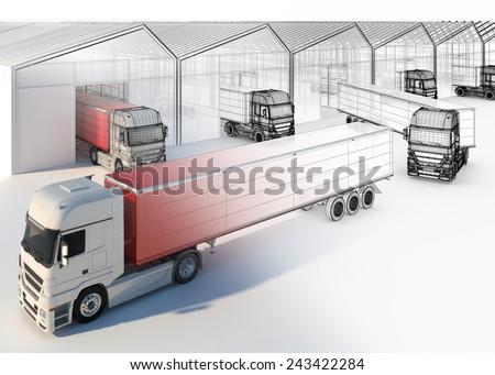 distribution process - truck near loading docks - stock photo
