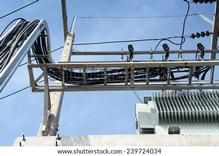 Distribution transformer with Cable trays Lines / Cable trays Lines - stock photo