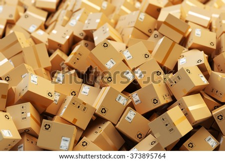 Distribution warehouse, package shipping, freight transportation, logistics and delivery concept, background with heap of cardboard boxes and parcels