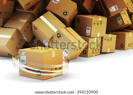 Distribution warehouse, package shipping, freight transportation, logistics and delivery concept, parcel handling and heap of cardboard boxes - stock photo