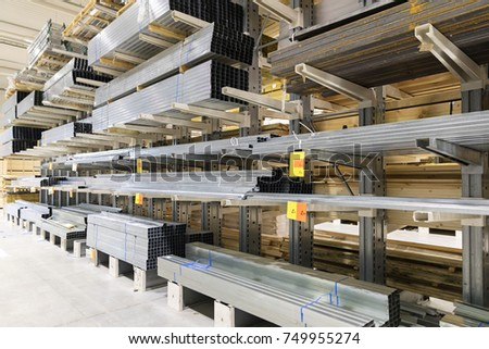 distribution warehouse shelves with metal profiles
