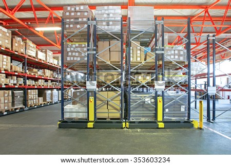 Distribution Warehouse With Mobile Shelving System - stock photo