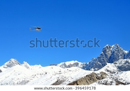 District Khumbu, Nepal, helicopter in Himalayas