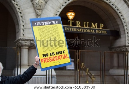 District of Columbia - 21 January 2017: Sign claiming who Donald Trump is, during the Woman's March on 21 January 2017 in DC