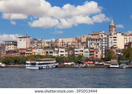 District of Karakoy from the Golden Horn, Istanbul, Turkey. - stock photo