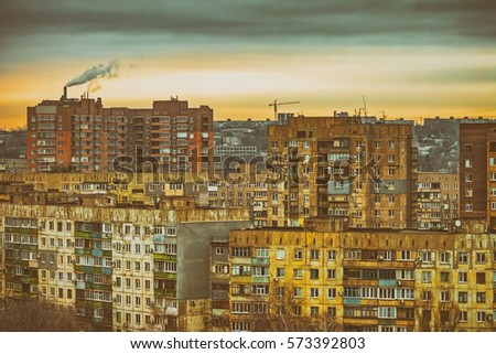 district of poor residential buildings, architecture background, dark mood depression