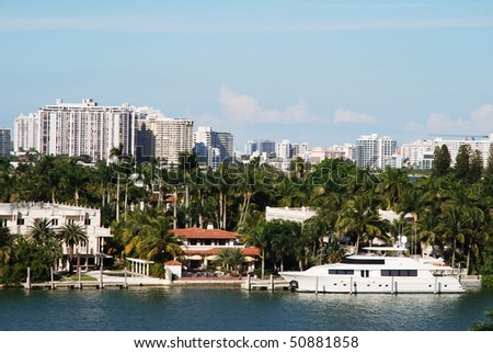 District of rich people on a small island in Miami (Florida). - stock photo