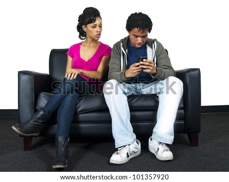 distrusting couple snooping on cell phone text messages