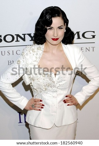 Dita Von Teese at Clive Davis Pre-Grammy Party, Beverly Hilton Hotel, Los Angeles, CA, February 09, 2008 - stock photo