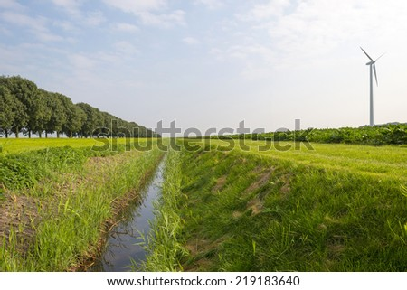 Ditch through the countryside in autumn - stock photo