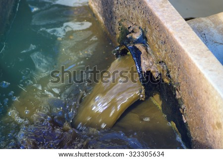 ditch waste water - stock photo