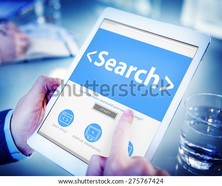 Ditigal Online Networking Search Office Concept - stock photo