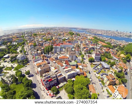 Divanyolu and Yerebatan Streets from above. Goldenhorn in the distance. Aerial Istanbul - stock photo