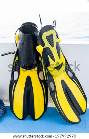 Dive equipment. Fins, scuba mask and snorkel  - stock photo