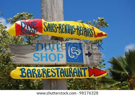 Dive shop sign - stock photo