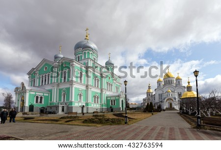 Diveevo, Russia - March 20, 2015: Trinity and the Transfiguration Cathedrals of Holy Trinity-Saint Seraphim-Diveyevo Monastery. Nizhny Novgorod Region. Russia - stock photo
