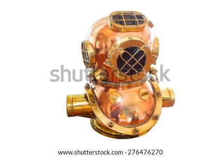 Diver ancient diving suit. - stock photo