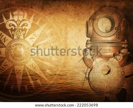 diver and nautical theme grunge background - stock photo
