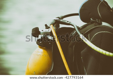 Diver on the river. Retro style. - stock photo