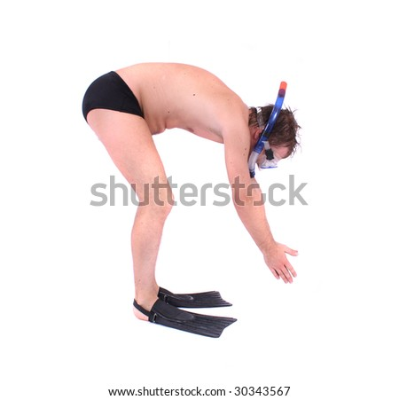 diver on the white background - stock photo