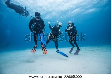 diver underwater - stock photo