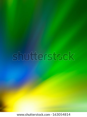 divergent beams -yellow, blue, green