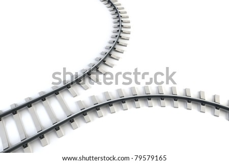 diverging railway. isolated 3d rendering