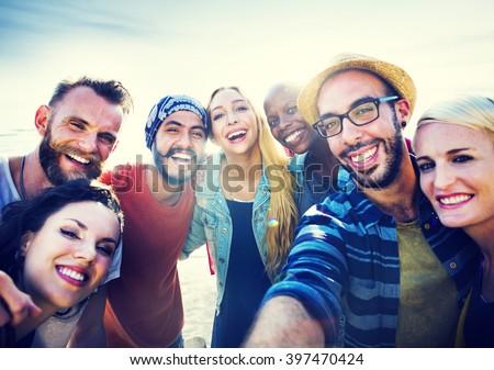 Diverse Beach Summer Friends Fun Bonding Concept - stock photo