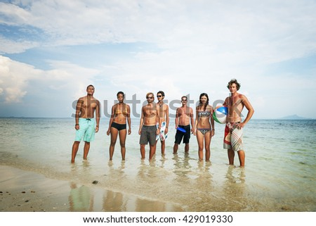 Diverse Beach Summer Friends Fun Bonding Concept - stock photo