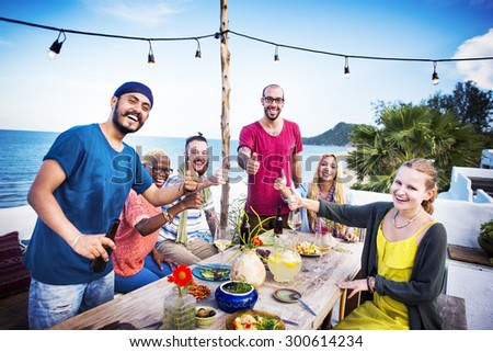 Diverse Beach Summer Party Roof Top Fun Concept - stock photo