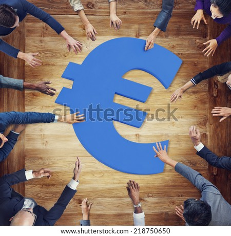 Diverse Business People Aroung Currency Symbol - stock photo