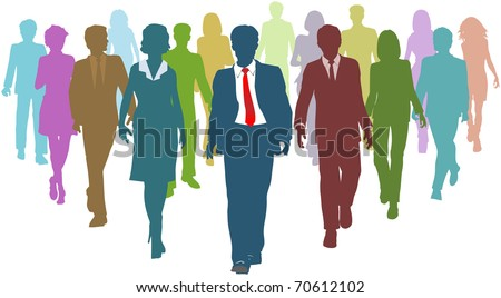Diverse business people human resources silhouettes follow a team leader - stock photo