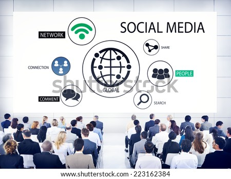 Diverse Business People in a Conference About Social Media - stock photo