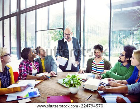 Diverse Casual Business People in a Meeting - stock photo