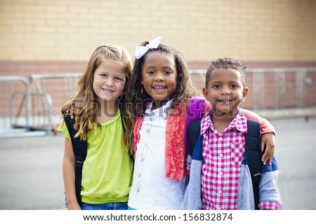 Diverse Children Going to Elementary school - stock photo