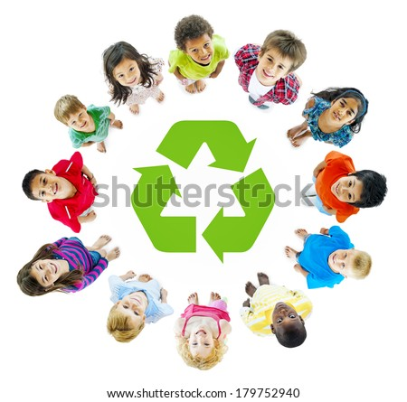 Diverse Children Standing in Circle Around Recycling Symbol - stock photo