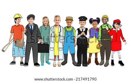 Diverse Children with Various Occupations Concept - stock photo