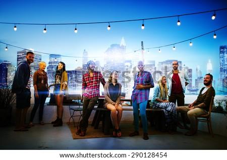 Diverse City Buildings Roof Top Fun Concept - stock photo