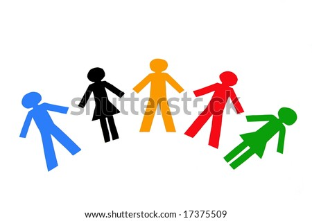 Diverse colorful people isolated on a white background - stock photo
