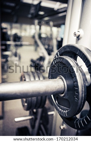 diverse equipment and machines in the gym room