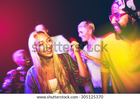 Diverse Ethnic Friendship Party Leisure Happiness Concept - stock photo