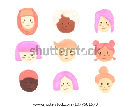 Diverse female with different skin tone and ethnicity on white background
