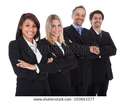 Diverse group of business people confidently standing  together on white background