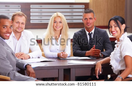 Diverse group of business people having a meeting
