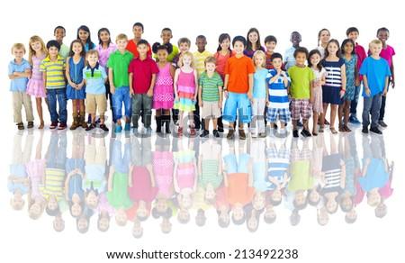 Diverse Group of Children Studio Shot - stock photo