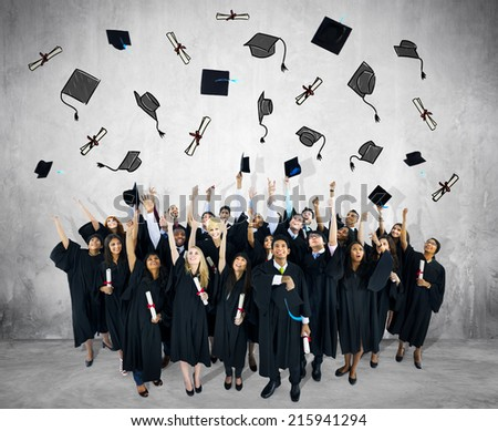 Diverse Group of People and Graduation Concepts - stock photo
