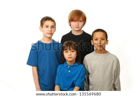 diverse group of sad boys on white background