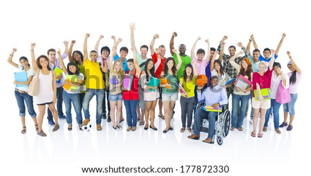 Diverse Group of Student Celebrating - stock photo