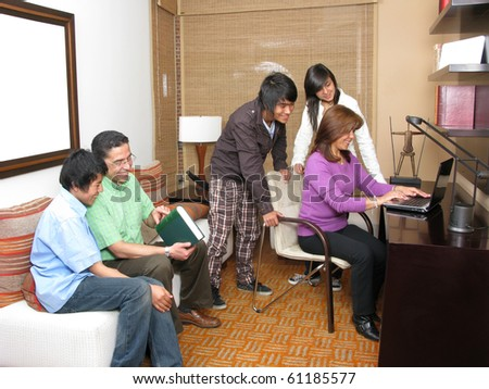 Diverse group of students studying in the family